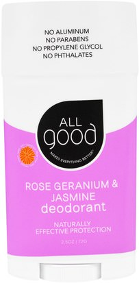 Baño, Belleza, Desodorante All Good Products, All Good, Deodorant, Rose Geranium & Jasmine, 2.5 oz (72 g)