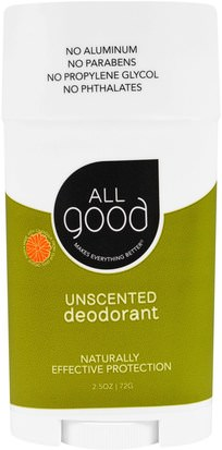 Baño, Belleza, Desodorante All Good Products, All Good, Deodorant, Unscented, 2.5 oz (72 g)