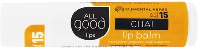 Baño, Belleza, Cuidado Labial, Bálsamo Labial All Good Products, All Good Lip, Lip Balm, SPF 15, Chai, 4.25 g