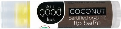 Baño, Belleza, Cuidado Labial, Bálsamo Labial All Good Products, All Good Lips, Certified Organic Lip Balm, Coconut, 4.25 g