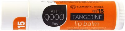 Baño, Belleza, Cuidado Labial, Bálsamo Labial All Good Products, All Good Lips, Lip Balm, SPF 12, Tangerine, 4.25 g