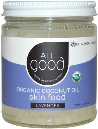 Baño, Belleza, Piel De Aceite De Coco All Good Products, All Good, Organic Coconut Oil, Skin Food, Lavender, 7.5 fl oz (222 ml)