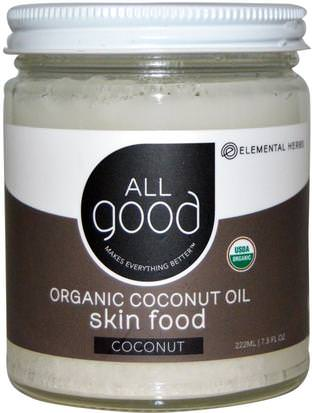 Baño, Belleza, Piel De Aceite De Coco All Good Products, Organic Coconut Oil, Skin Food, Coconut, 7.5 fl oz (222 ml)