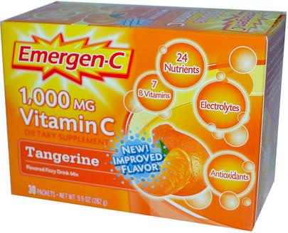 Vitaminas, Vitamina C Emergen-C, Vitamin C, Flavored Fizzy Drink Mix, Tangerine, 1,000 mg, 30 Packets, 9.4 g Each