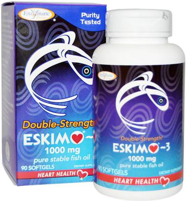 Suplementos, Efa Omega 3 6 9 (Epa Dha), Aceite De Pescado Enzymatic Therapy, Eskimo-3, Double Strength, 1000 mg, 90 Softgels