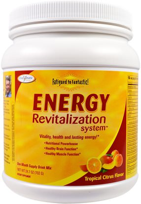 Suplementos, Suprarrenales Enzymatic Therapy, Fatigued to Fantastic!, Energy Revitalization System, Tropical Citrus Flavor, 24.7 oz (702 g)