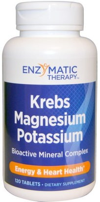 Suplementos, Minerales, Magnesio, Potasio Enzymatic Therapy, Krebs Magnesium Potassium, Bioactive Mineral Complex, 120 Tablets