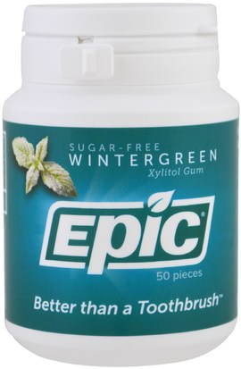 Baño, Belleza, Cuidado Bucal Dental, Mentas De Goma Dental, Goma De Mascar Epic Dental, Xylitol Gum, Sugar-Free, Wintergreen, 50 Pieces