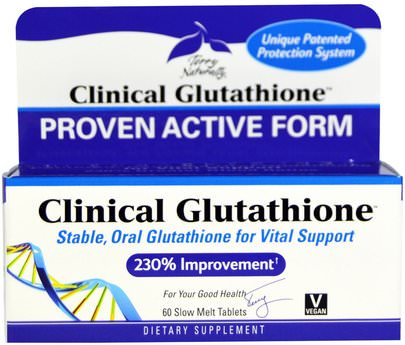 Suplementos, L Glutatión EuroPharma, Terry Naturally, Clinical Glutathione, 60 Slow Melt Tablets