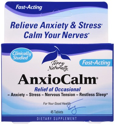 Salud, Ansiedad EuroPharma, Terry Naturally, AnxioCalm, 45 Tablets