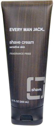 Baño, Belleza, Crema De Afeitar Every Man Jack, Shave Cream, Sensitive Skin, Fragrance Free, 6.7 fl oz (200 ml)