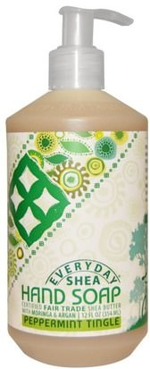 Baño, Belleza, Baño De Argán, Jabón Everyday Shea, Hand Soap, Peppermint Tingle, 12 fl oz (354 ml)