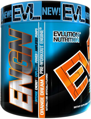 Deportes, Entrenamiento, Músculo EVLution Nutrition, ENGN Pre-Workout, Orange Dream, 8.7 oz (246 g)