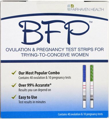 Salud, Mujeres Fairhaven Health, BFP, Ovulation & Pregnancy Test Strips For Trying-To-Conceive Women, 40 Ovulation & 10 Pregnancy Tests