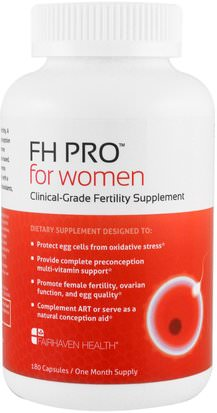 Suplementos, Homeopatía Mujeres Fairhaven Health, FH Pro for Women, Clinical-Grade Fertility Supplement, 180 Capsules