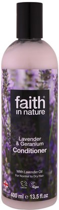 Baño, Belleza, Cabello, Cuero Cabelludo, Acondicionadores Faith in Nature, Conditioner, For Normal to Dry Hair, Lavender & Geranium, 13.5 fl oz (400 ml)