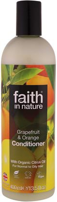Baño, Belleza, Cabello, Cuero Cabelludo, Acondicionadores Faith in Nature, Conditioner, For Normal to Oily Hair, Grapefruit & Orange, 13.5 fl. oz (400 ml)