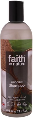 Baño, Belleza, Cabello, Cuero Cabelludo Faith in Nature, Shampoo, For Normal to Dry Hair, Coconut, 13.5 fl oz (400 ml)