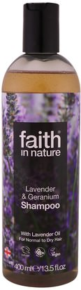 Baño, Belleza, Cabello, Cuero Cabelludo Faith in Nature, Shampoo, For Normal to Dry Hair, Lavender & Geranium, 13.5 fl oz (400 ml)