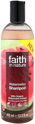 Baño, Belleza, Cabello, Cuero Cabelludo Faith in Nature, Shampoo, For Normal to Dry Hair, Watermelon, 13.5 fl oz (400 ml)