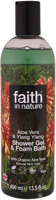 Baño, Belleza, Gel De Ducha Faith in Nature, Shower Gel & Foam Bath, Aloe Vera & Ylang Ylang, 13.5 fl. oz (400 ml)