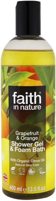 Baño, Belleza, Gel De Ducha Faith in Nature, Shower Gel & Foam Bath, Grapefruit & Orange, 13.5 fl oz (400 ml)