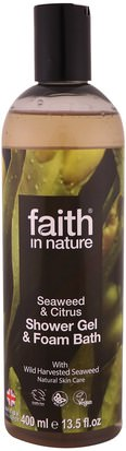 Baño, Belleza, Gel De Ducha Faith in Nature, Shower Gel & Foam Bath, Seaweed & Citrus, 13.5 fl oz (400 ml)