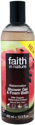 Baño, Belleza, Gel De Ducha Faith in Nature, Shower Gel & Foam Bath, Watermelon, 13.5 fl oz (400 ml)