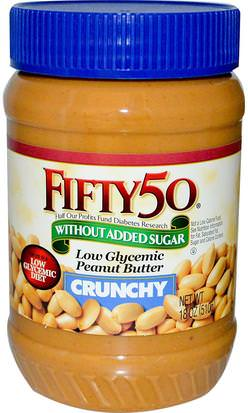Comida, Mantequilla De Maní Fifty 50, Low Glycemic Peanut Butter, Crunchy, 18 oz (510 g)