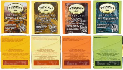 Twinings, Herbal Tea Variety Pack, Special Edition, Beauty and the Beast, 4 Boxes, 20 Tea Bags Each Comida, Té De Hierbas, Juegos De Regalo
