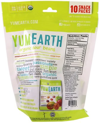 YumEarth, Organic Sour Beans, Assorted Flavors, 10 Snack Packs, 0.7 oz (19.8 g) Each Comida, Bocadillos, Dulces
