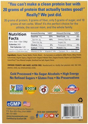 Trace Minerals Research, TRMFit Series Clean Protein Bar, Peanut Butter Cookie Dough with Goji Berries, 12 Bars, 2 oz (58 g) Each Comida, Bocadillos, Refrigerios Saludables, Deportes, Barras De Proteína