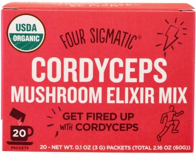 Suplementos, Adaptógeno, Superalimentos Four Sigmatic, Cordyceps Mushroom Elixir Mix, 20 Packets, 0.1 oz (3 g) Each