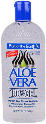 Baño, Belleza, Gel De Crema De Loción De Aloe Vera Fruit of the Earth, Aloe Vera 100% Gel, 12 oz (340 g)