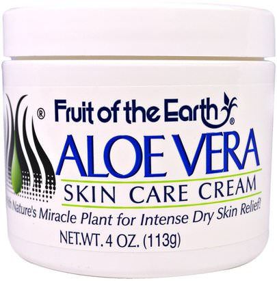Baño, Belleza, Gel De Crema De Loción De Aloe Vera Fruit of the Earth, Aloe Vera Skin Care Cream, 4 oz (113 g)