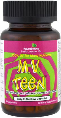 Vitaminas, Multivitaminas, Niños Multivitaminas FutureBiotics, M.V. Teen, 90 Capsules