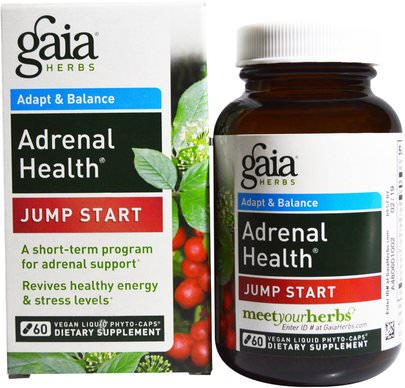 Salud, Apoyo Suprarrenal Gaia Herbs, Adrenal Health, Jump Start, 60 Vegan Liquid Phyto-Caps