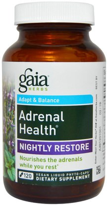 Salud, Apoyo Suprarrenal Gaia Herbs, Adrenal Health, Nightly Restore, 120 Vegan Liquid Phyto-Caps
