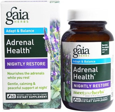 Salud, Apoyo Suprarrenal Gaia Herbs, Adrenal Health, Nightly Restore, 60 Vegan Liquid Phyto-Caps