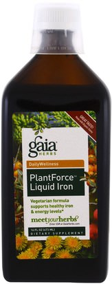 Suplementos, Minerales, Hierro Gaia Herbs, PlantForce Liquid Iron, 16 fl oz (473 ml)