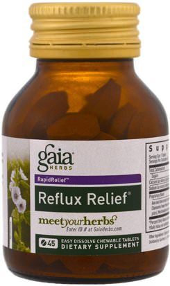 Salud, Acidez Y Gerd, Acidez Estomacal Gaia Herbs, Reflux Relief, 45 Easy Dissolve Chewable Tablets