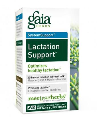 Salud, Mujeres Gaia Herbs, SystemSupport, Lactation Support, 60 Vegetarian Liquid Phyto-Caps