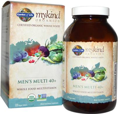 Vitaminas, Hombres Multivitaminas, Compuestos Orgánicos Amables Garden of Life, MyKind Organics, Mens Multi 40+, 120 Vegan Tablets