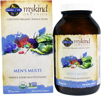 Vitaminas, Hombres Multivitaminas, Compuestos Orgánicos Amables Garden of Life, MyKind Organics, Mens Multi, Whole Food Multivitamin, 120 Vegan Tablets
