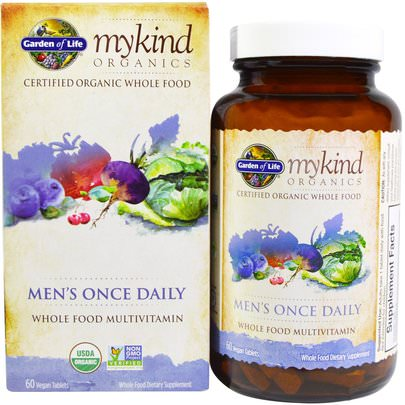 Vitaminas, Hombres Multivitaminas, Compuestos Orgánicos Amables Garden of Life, MyKind Organics, Mens Once Daily, Whole Food Multivitamin, 60 Vegan Tablets