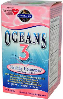 Salud, Mujeres, Menopausia Garden of Life, Oceans 3, Healthy Hormones with OmegaXanthin, 90 Softgels