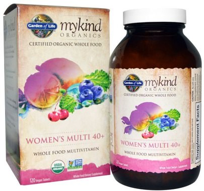 Vitaminas, Mujeres Multivitaminas, Compuestos Orgánicos Amables Garden of Life, Organic Womens Multi 40+, Whole Food Multivitamin, 120 Vegan Tablets