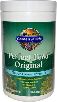 Suplementos, Superalimentos, Alimentos Perfectos Garden of Life, Perfect Food Original, Super Green Formula, 10.58 oz (300 g)