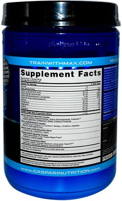 Deportes, Músculo Gaspari Nutrition, SuperPump Max, Blue Raspberry Ice, 1.41 lbs (640 g)