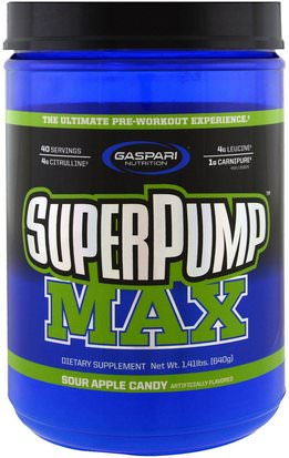 Deportes, Entrenamiento Gaspari Nutrition, SuperPump Max, Sour Apple Candy, 1.41 lbs (640 g)